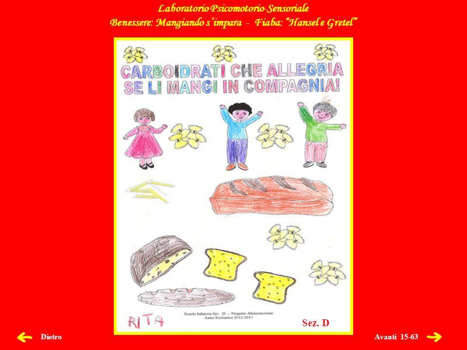 Avanti 16-63 Dietro Laboratorio Psicomotorio-Sensoriale Benessere: Mangiando simpara - Fiaba: Hansel e Gretel Sez.