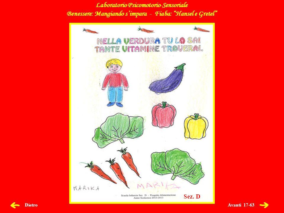 Avanti 17-63 Dietro Laboratorio Psicomotorio-Sensoriale Benessere: Mangiando simpara - Fiaba: Hansel e Gretel Sez.