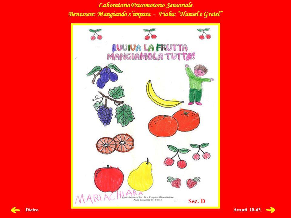 Avanti 19-63 Dietro Laboratorio Psicomotorio-Sensoriale Benessere: Mangiando simpara - Fiaba: Hansel e Gretel Sez.