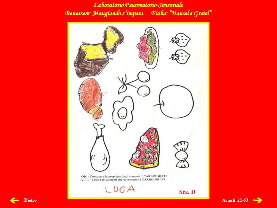 Avanti 22-63 Dietro Laboratorio Psicomotorio-Sensoriale Benessere: Mangiando simpara - Fiaba: Hansel e Gretel Sez.