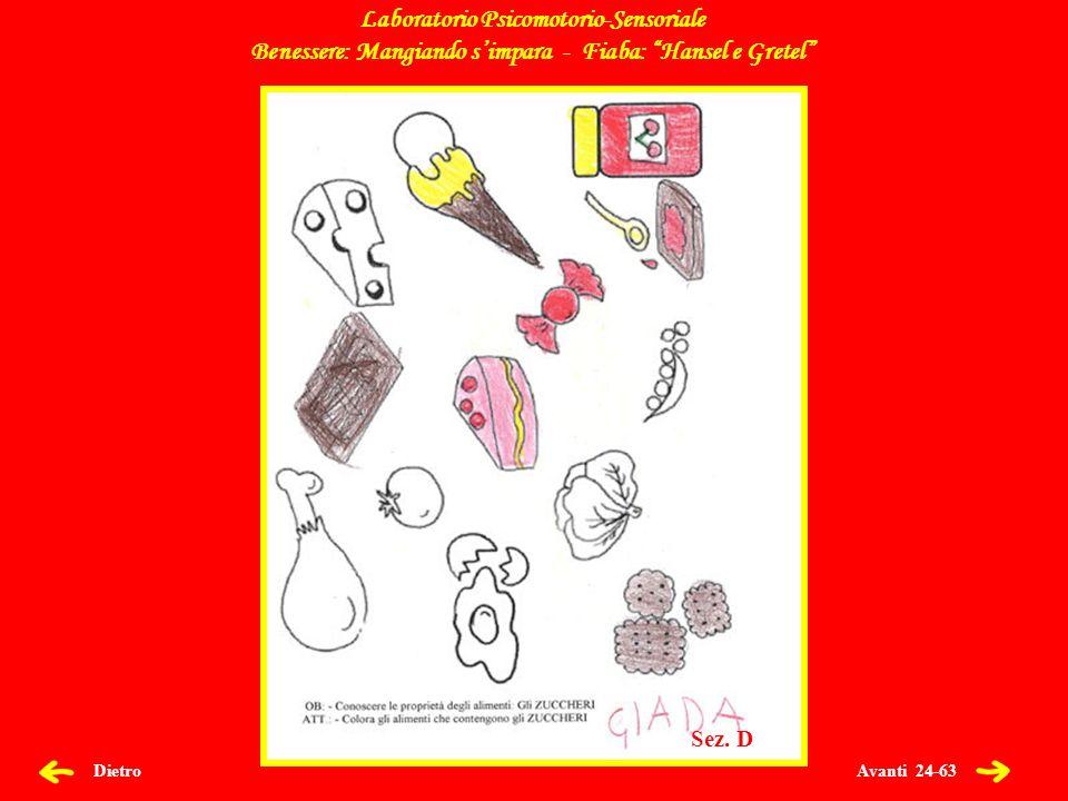 Avanti 24-63 Dietro Laboratorio Psicomotorio-Sensoriale Benessere: Mangiando simpara - Fiaba: Hansel e Gretel Sez.