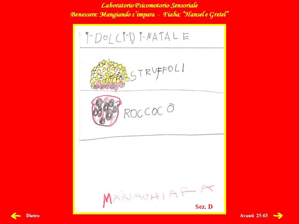 Avanti 25-63 Dietro Laboratorio Psicomotorio-Sensoriale Benessere: Mangiando simpara - Fiaba: Hansel e Gretel Sez.