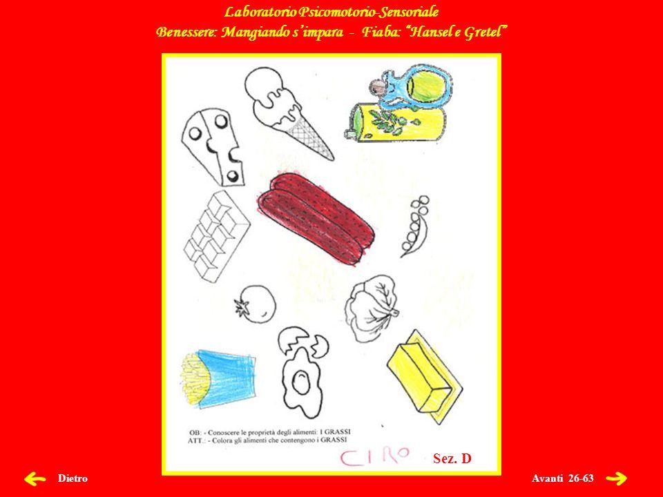 Avanti 26-63 Dietro Laboratorio Psicomotorio-Sensoriale Benessere: Mangiando simpara - Fiaba: Hansel e Gretel Sez.