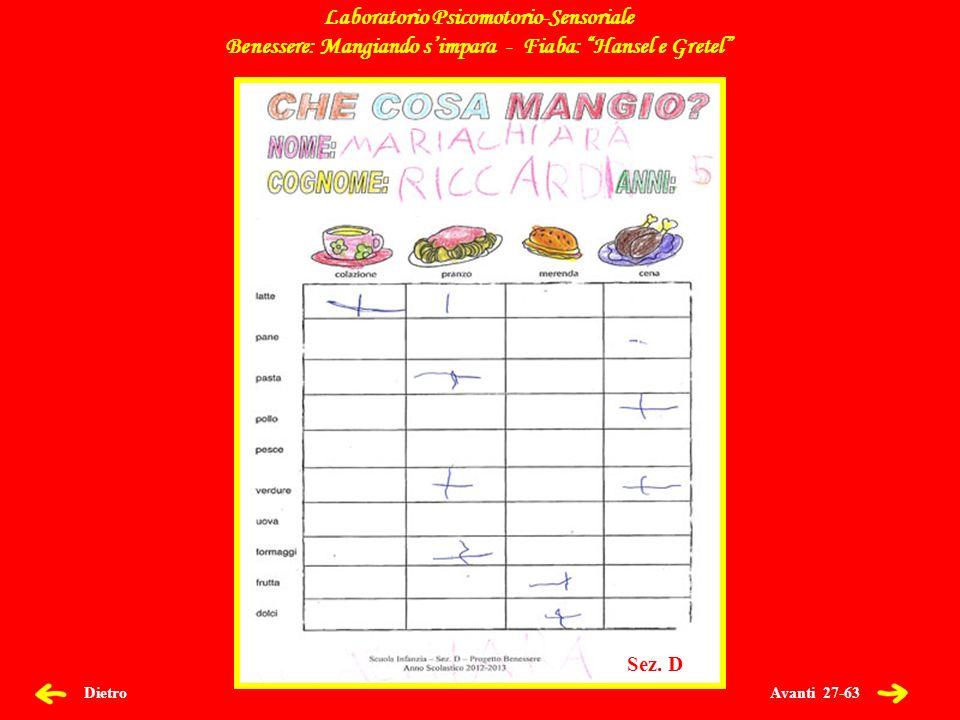 Avanti 27-63 Dietro Laboratorio Psicomotorio-Sensoriale Benessere: Mangiando simpara - Fiaba: Hansel e Gretel Sez.