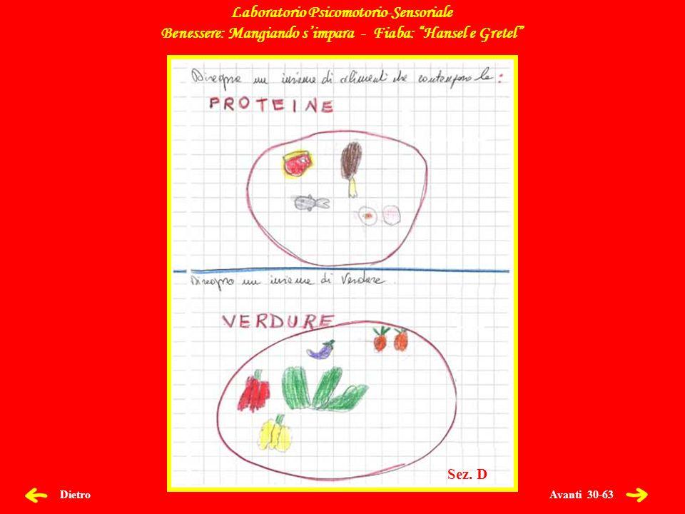 Avanti 31-63 Dietro Laboratorio Psicomotorio-Sensoriale Benessere: Mangiando simpara - Fiaba: Hansel e Gretel Sez.