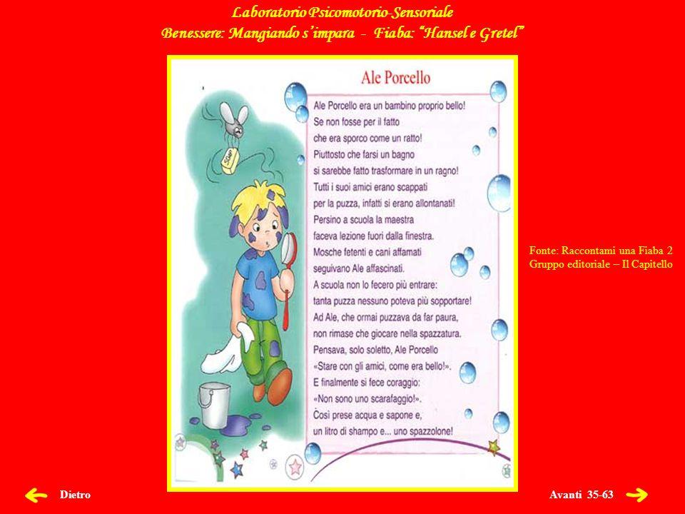 Avanti 35-63 Dietro Laboratorio Psicomotorio-Sensoriale Benessere: Mangiando simpara - Fiaba: Hansel e Gretel Fonte: Raccontami una Fiaba 2 Gruppo editoriale – Il Capitello