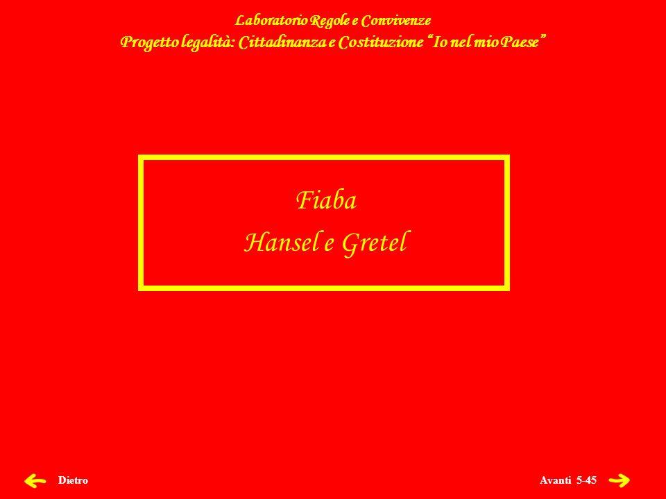 Avanti 5-45 Dietro Fiaba Hansel e Gretel Laboratorio Regole e Convivenze Progetto legalità: Cittadinanza e Costituzione Io nel mio Paese