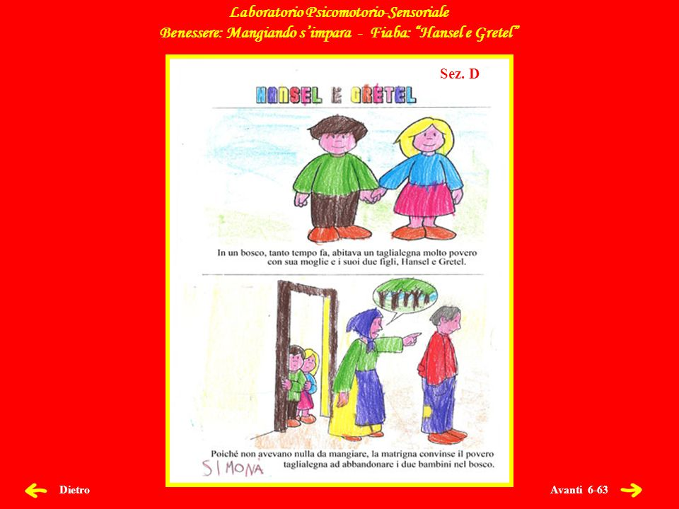Avanti 6-63 Dietro Laboratorio Psicomotorio-Sensoriale Benessere: Mangiando simpara - Fiaba: Hansel e Gretel Sez.