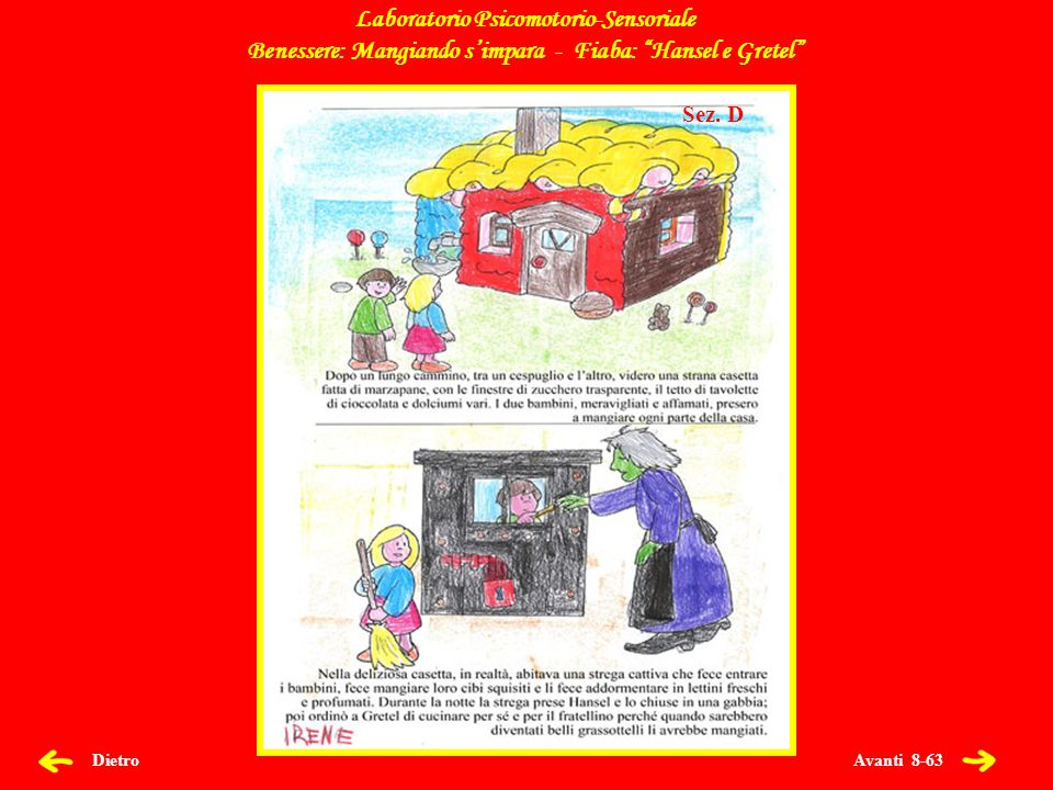 Avanti 8-63 Dietro Laboratorio Psicomotorio-Sensoriale Benessere: Mangiando simpara - Fiaba: Hansel e Gretel Sez.