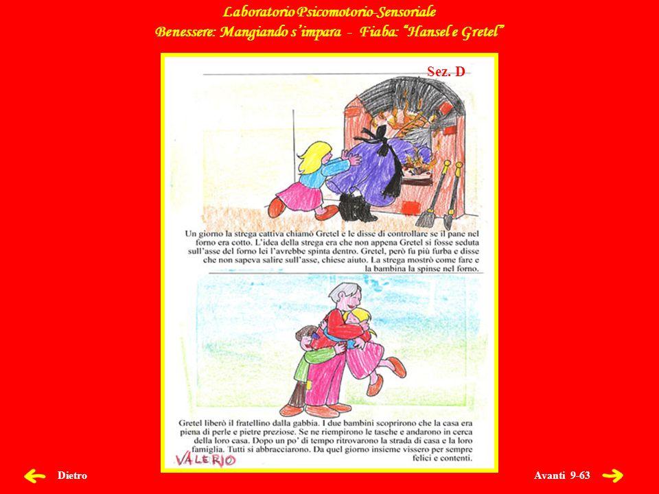 Avanti 9-63 Dietro Laboratorio Psicomotorio-Sensoriale Benessere: Mangiando simpara - Fiaba: Hansel e Gretel Sez.