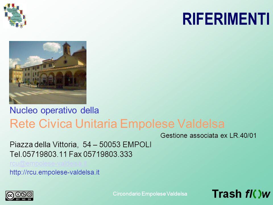 Circondario Empolese Valdelsa RIFERIMENTI Nucleo operativo della Rete Civica Unitaria Empolese Valdelsa Gestione associata ex LR.40/01 Piazza della Vi
