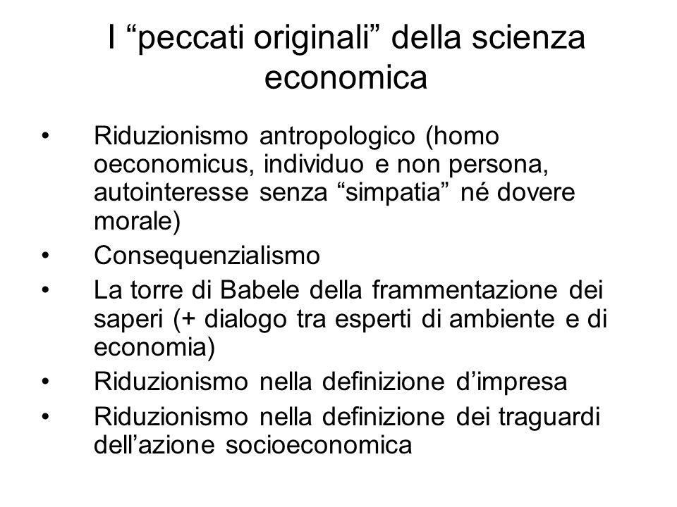 I peccati originali della scienza economica Riduzionismo antropologico (homo oeconomicus, individuo e non persona, autointeresse senza simpatia né dov