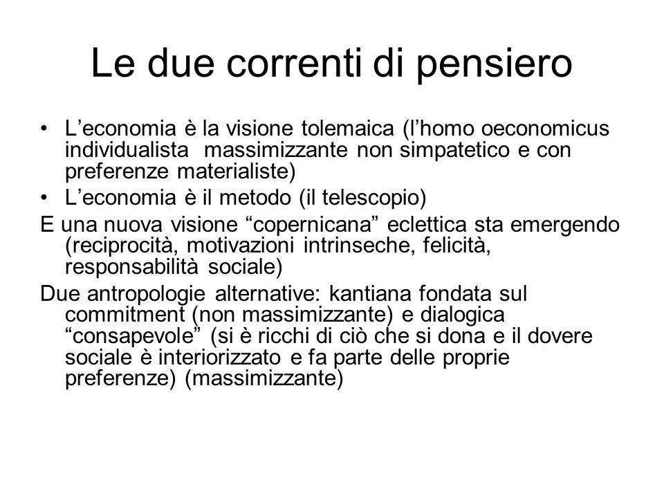 Le due correnti di pensiero Leconomia è la visione tolemaica (lhomo oeconomicus individualista massimizzante non simpatetico e con preferenze material