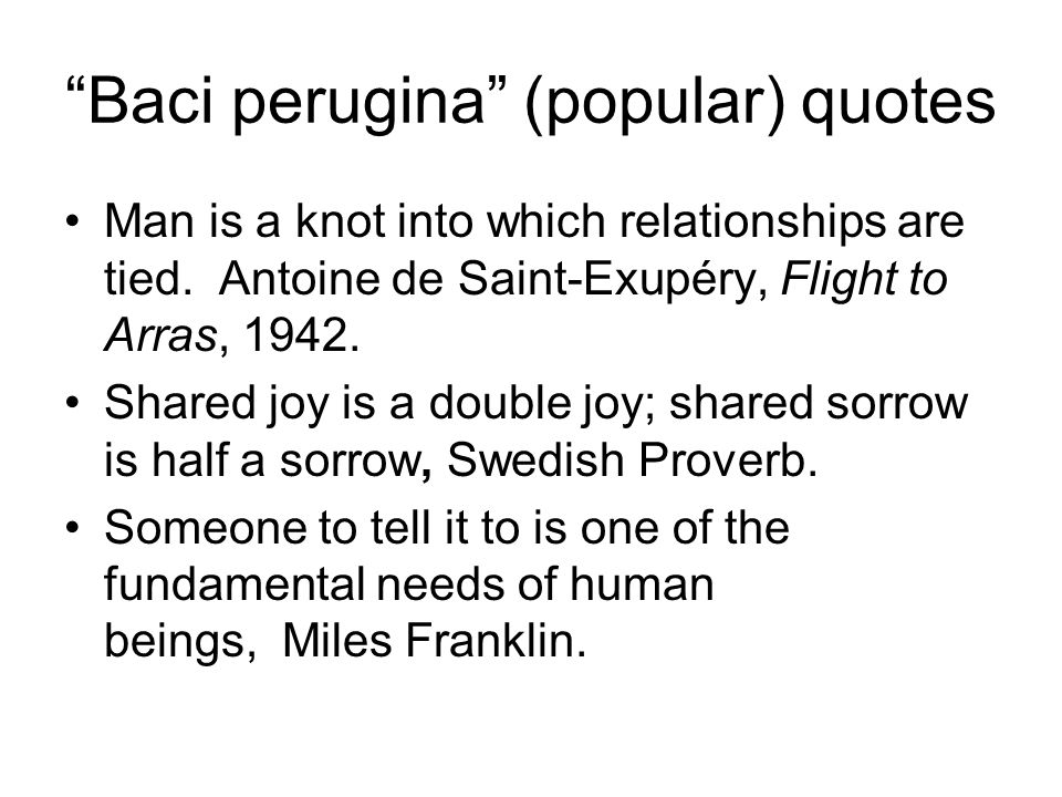 Baci perugina (popular) quotes Man is a knot into which relationships are tied. Antoine de Saint-Exupéry, Flight to Arras, 1942. Shared joy is a doubl