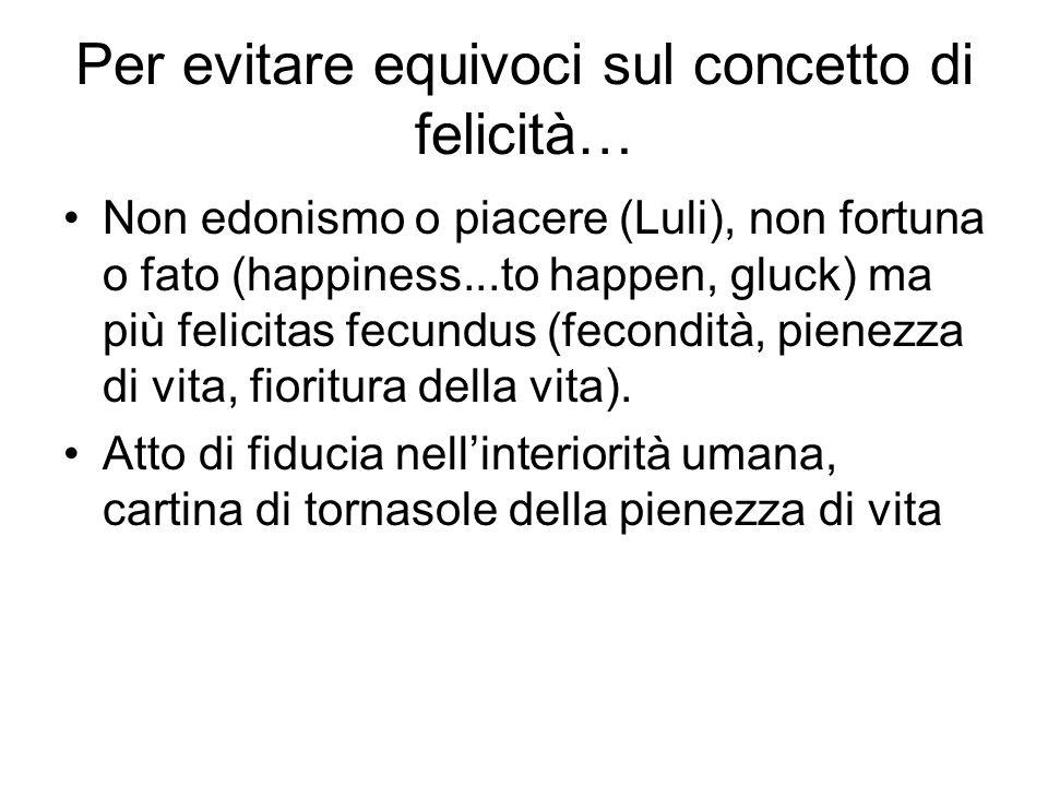 Per evitare equivoci sul concetto di felicità… Non edonismo o piacere (Luli), non fortuna o fato (happiness...to happen, gluck) ma più felicitas fecun