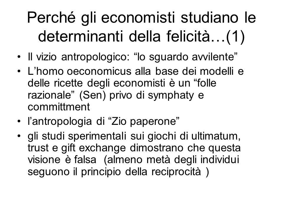 Perché gli economisti studiano le determinanti della felicità…(2) Lhomo economicus è fondato su unipotesi a priori non testata..le ricette fondate sulla visione dellhomo oeconomicus sono spesso pericolose e controproducenti (lo sguardo avvilente) Vediamo invece cosa ci rende veramente felici…