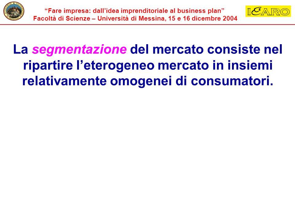 Fare impresa: dallidea imprenditoriale al business plan Facoltà di Scienze – Università di Messina, 15 e 16 dicembre 2004 La segmentazione del mercato