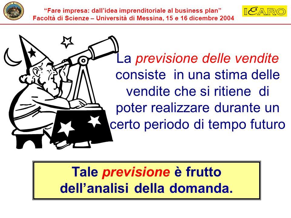 Fare impresa: dallidea imprenditoriale al business plan Facoltà di Scienze – Università di Messina, 15 e 16 dicembre 2004 La previsione delle vendite