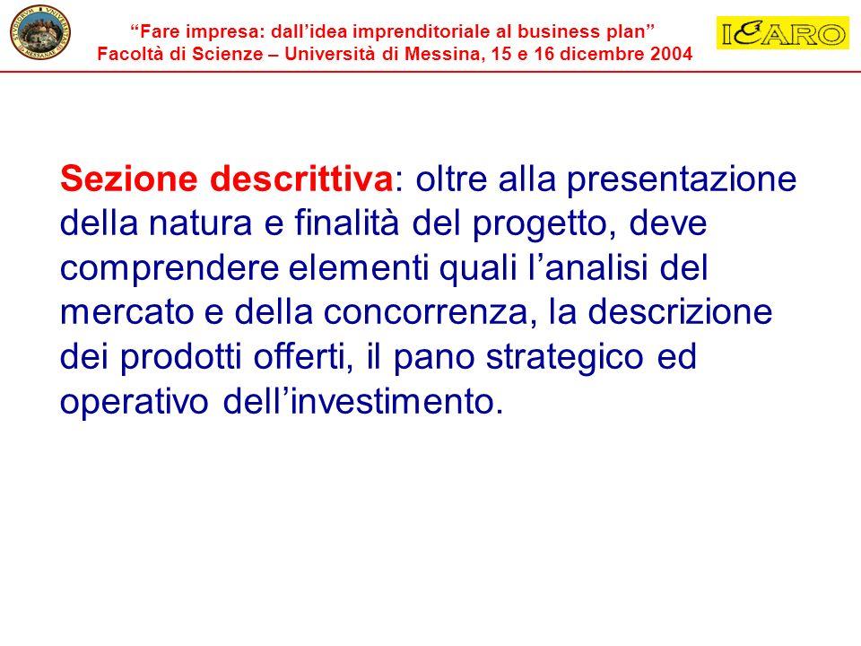 Fare impresa: dallidea imprenditoriale al business plan Facoltà di Scienze – Università di Messina, 15 e 16 dicembre 2004 Sezione descrittiva: oltre a