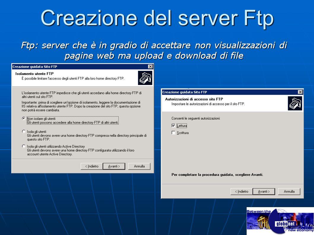 Creazione del server Ftp Ftp: server che è in gradio di accettare non visualizzazioni di pagine web ma upload e download di file