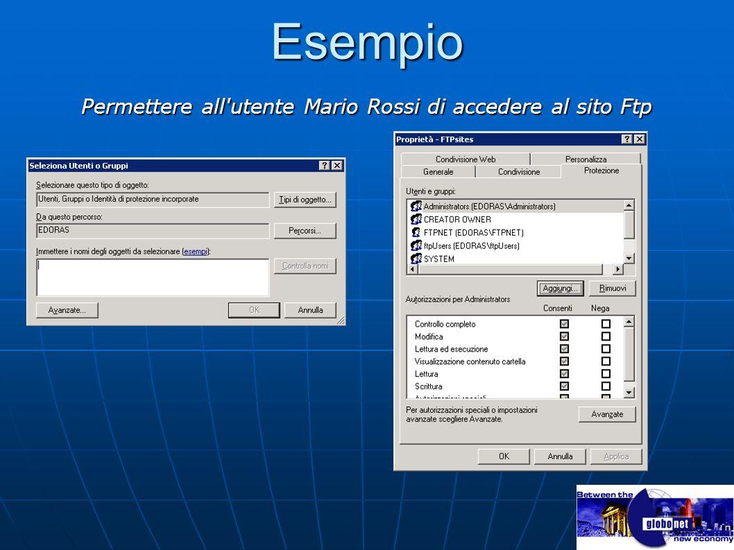 Esempio Permettere all'utente Mario Rossi di accedere al sito Ftp