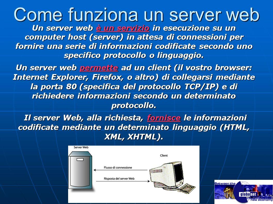 Come funziona un server web Un server web è un servizio in esecuzione su un computer host (server) in attesa di connessioni per fornire una serie di i