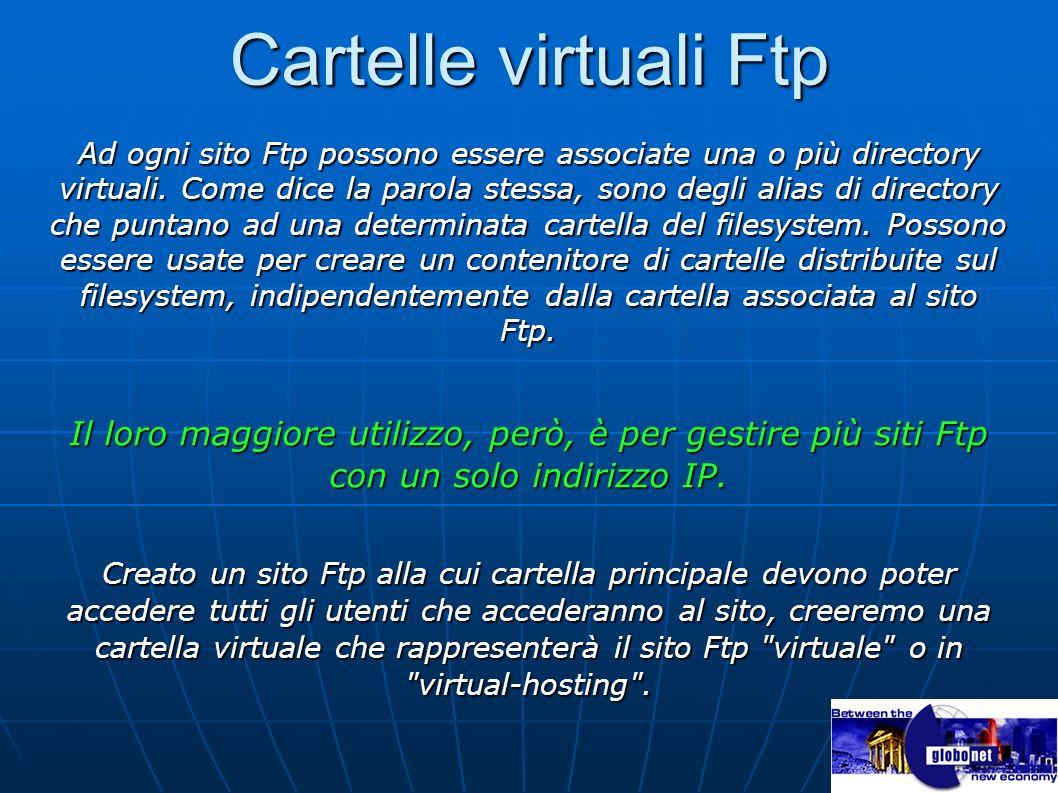 Cartelle virtuali Ftp Ad ogni sito Ftp possono essere associate una o più directory virtuali. Come dice la parola stessa, sono degli alias di director