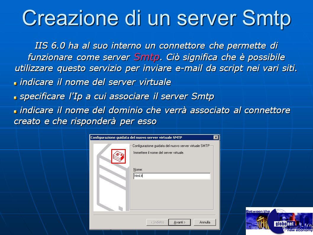 Creazione di un server Smtp IIS 6.0 ha al suo interno un connettore che permette di funzionare come server Smtp. Ciò significa che è possibile utilizz