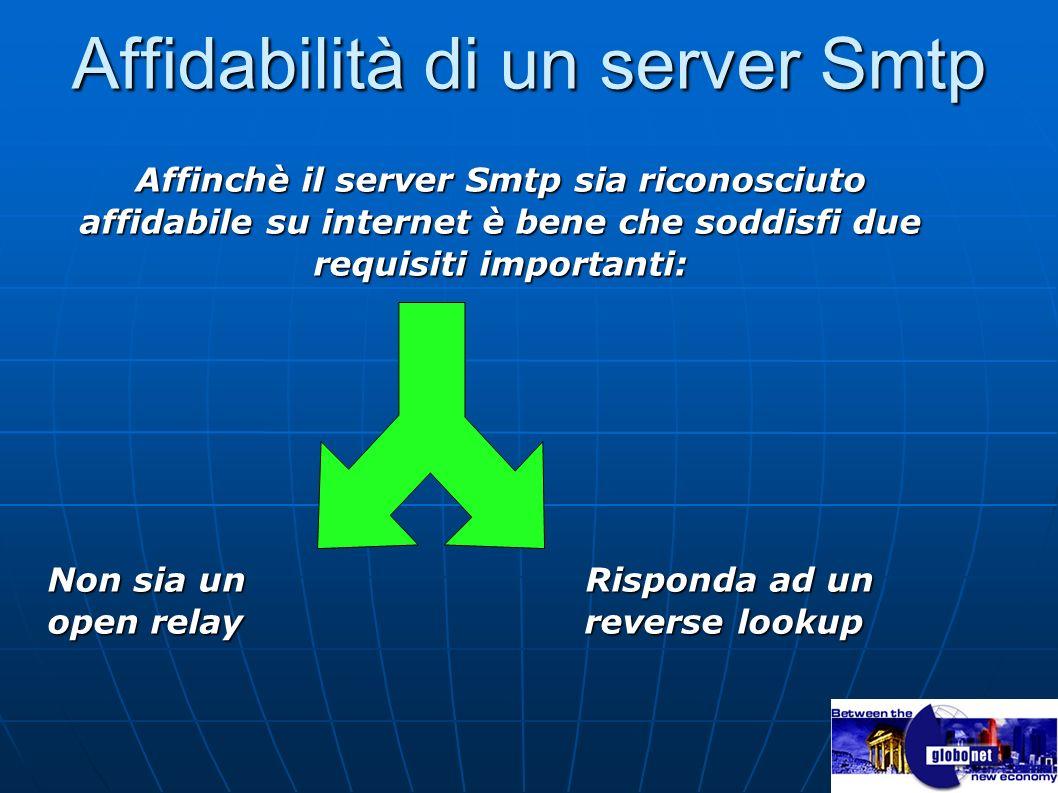 Affidabilità di un server Smtp Affinchè il server Smtp sia riconosciuto affidabile su internet è bene che soddisfi due requisiti importanti: Non sia u