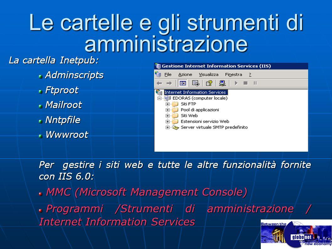 Le cartelle e gli strumenti di amministrazione La cartella Inetpub: Adminscripts Adminscripts Ftproot Ftproot Mailroot Mailroot Nntpfile Nntpfile Wwwr