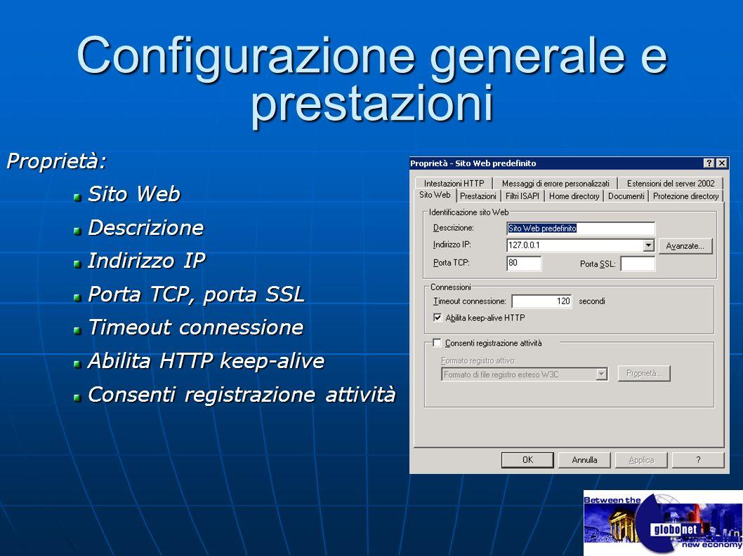 Configurazione generale e prestazioni Proprietà: Sito Web Sito Web Descrizione Descrizione Indirizzo IP Indirizzo IP Porta TCP, porta SSL Porta TCP, p