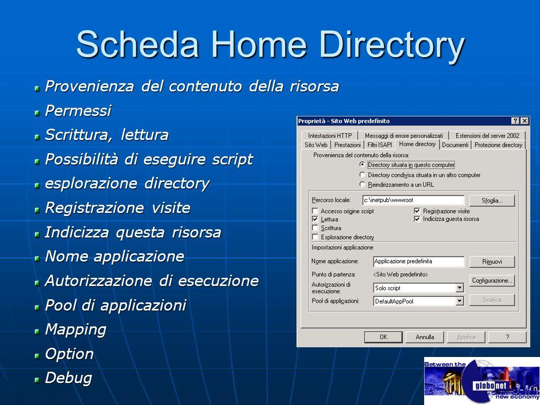 Scheda Home Directory Provenienza del contenuto della risorsa Provenienza del contenuto della risorsa Permessi Permessi Scrittura, lettura Scrittura,