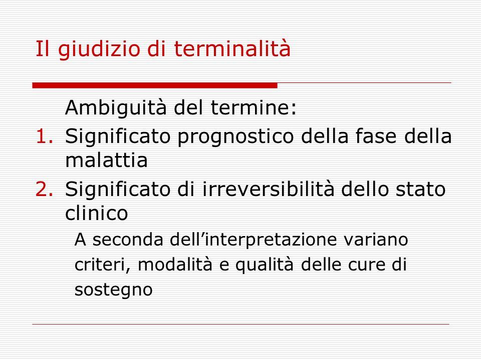 Il giudizio di terminalità Ambiguità del termine: 1.Significato prognostico della fase della malattia 2.Significato di irreversibilità dello stato cli