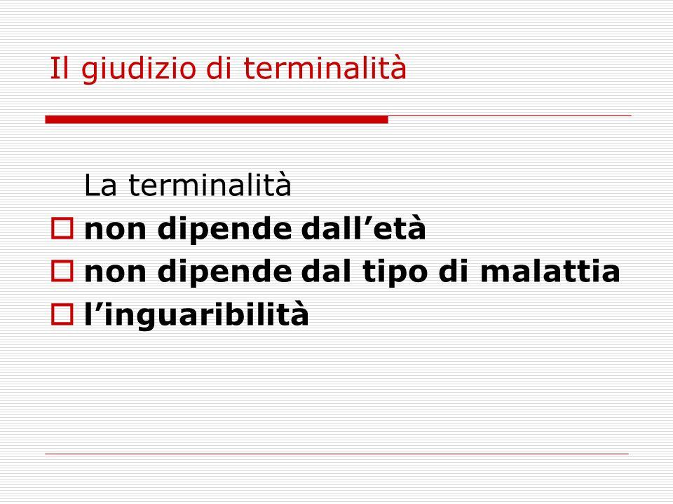 Il giudizio di terminalità La terminalità non dipende dalletà non dipende dal tipo di malattia linguaribilità