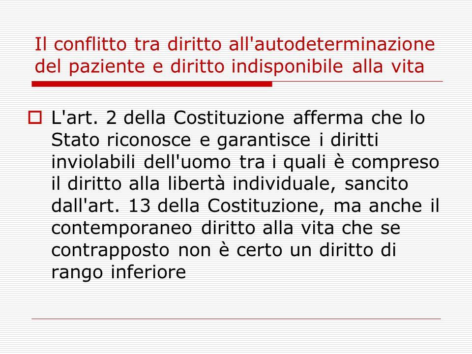Il conflitto tra diritto all'autodeterminazione del paziente e diritto indisponibile alla vita L'art. 2 della Costituzione afferma che lo Stato ricono