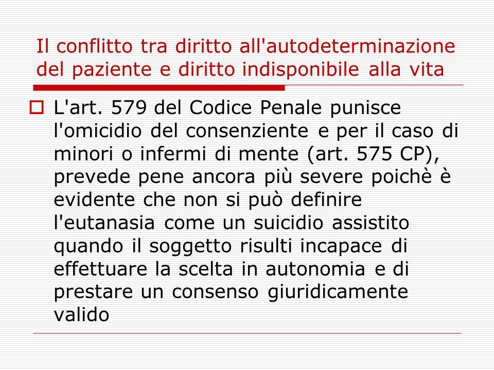 Il conflitto tra diritto all'autodeterminazione del paziente e diritto indisponibile alla vita L'art. 579 del Codice Penale punisce l'omicidio del con