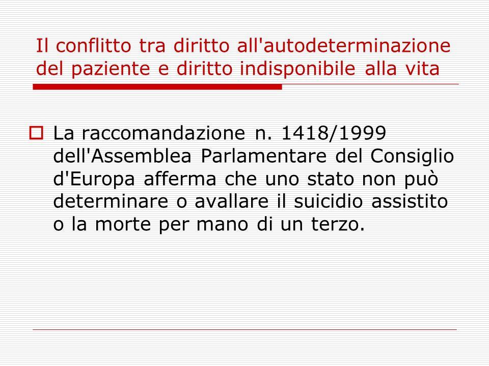 Il conflitto tra diritto all'autodeterminazione del paziente e diritto indisponibile alla vita La raccomandazione n. 1418/1999 dell'Assemblea Parlamen