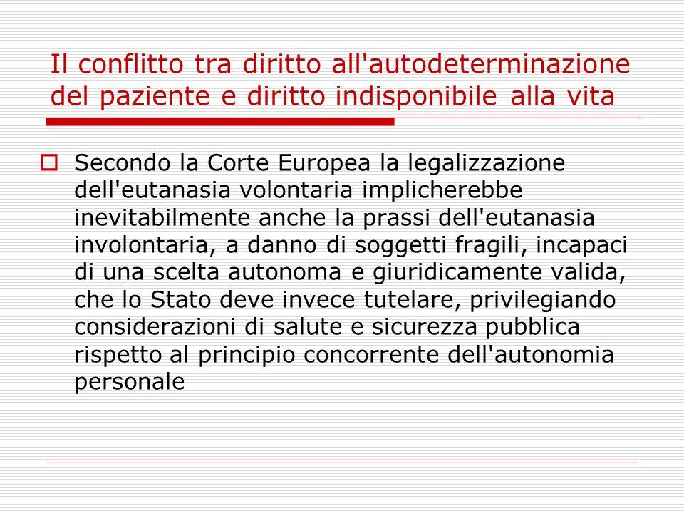 Il conflitto tra diritto all'autodeterminazione del paziente e diritto indisponibile alla vita Secondo la Corte Europea la legalizzazione dell'eutanas