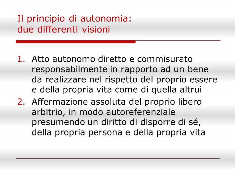 Il principio di autonomia: due differenti visioni 1.Atto autonomo diretto e commisurato responsabilmente in rapporto ad un bene da realizzare nel risp