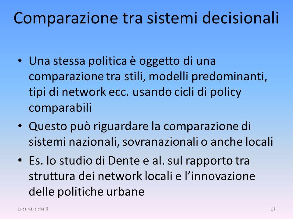 Comparazione tra sistemi decisionali Una stessa politica è oggetto di una comparazione tra stili, modelli predominanti, tipi di network ecc. usando ci