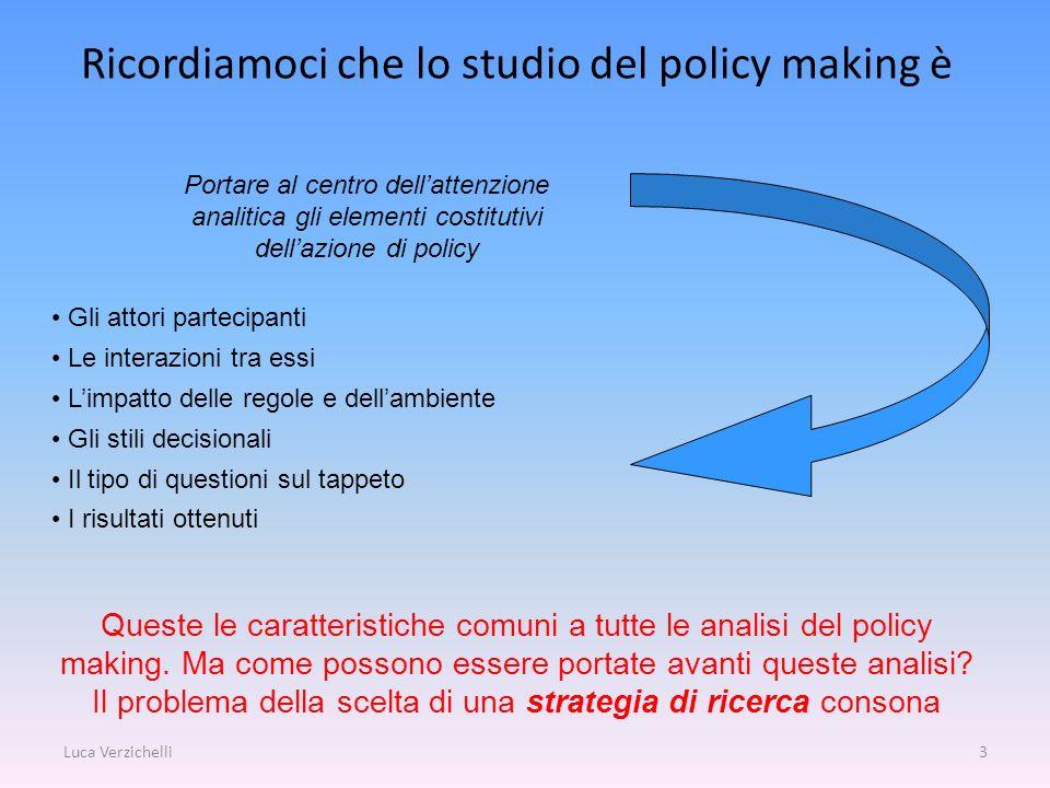 Luca Verzichelli3 Ricordiamoci che lo studio del policy making è Portare al centro dellattenzione analitica gli elementi costitutivi dellazione di pol