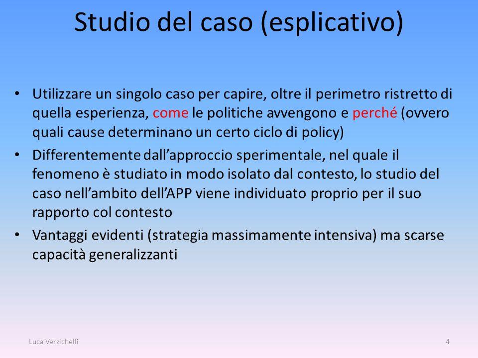 Studio del caso (esplicativo) Utilizzare un singolo caso per capire, oltre il perimetro ristretto di quella esperienza, come le politiche avvengono e