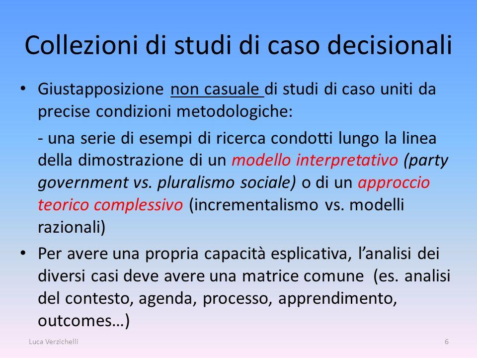 Collezioni di studi di caso decisionali Giustapposizione non casuale di studi di caso uniti da precise condizioni metodologiche: - una serie di esempi