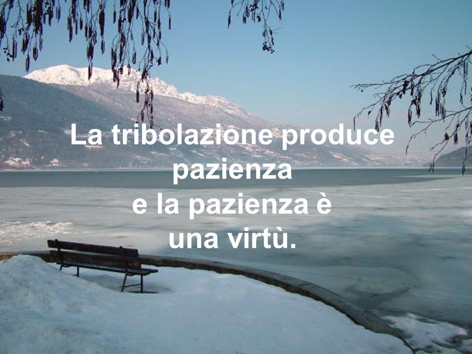 La tribolazione produce pazienza e la pazienza è una virtù.