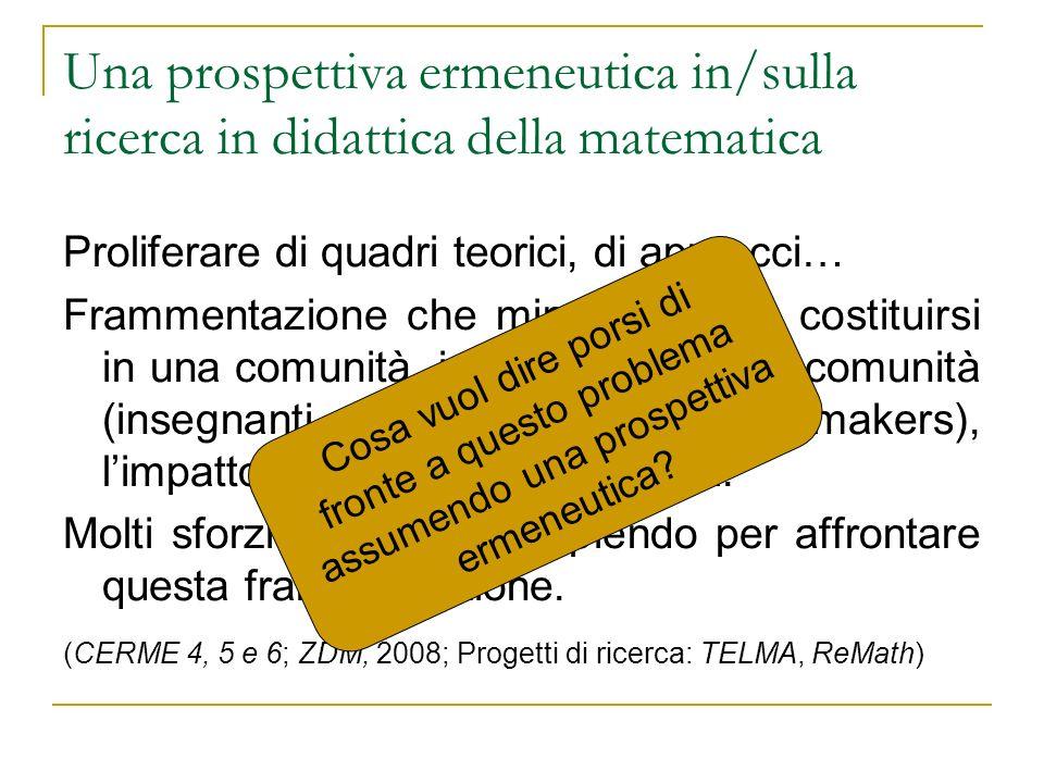 Una prospettiva ermeneutica in/sulla ricerca in didattica della matematica Proliferare di quadri teorici, di approcci… Frammentazione che mina: il nos