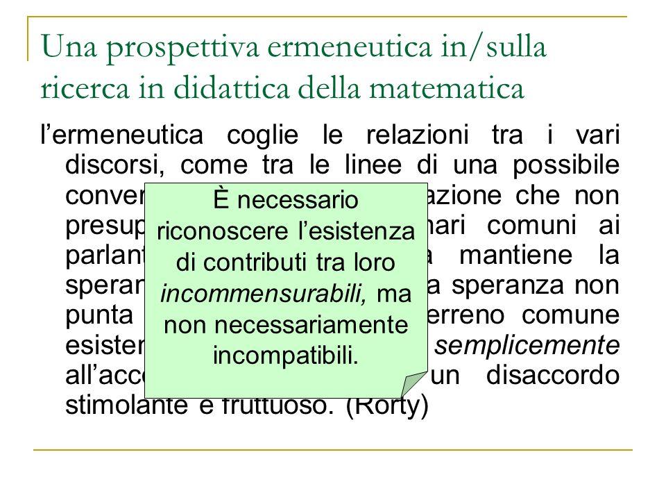 Una prospettiva ermeneutica in/sulla ricerca in didattica della matematica lermeneutica coglie le relazioni tra i vari discorsi, come tra le linee di