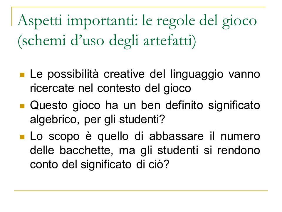 Aspetti importanti: le regole del gioco (schemi duso degli artefatti) Le possibilità creative del linguaggio vanno ricercate nel contesto del gioco Qu
