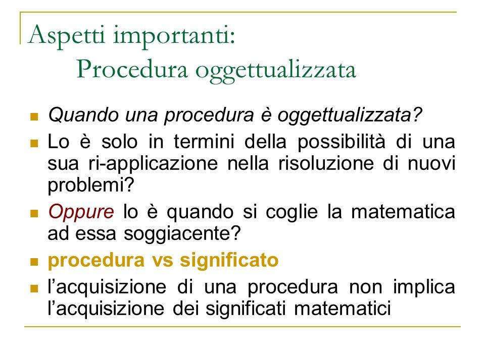 Quando una procedura è oggettualizzata? Lo è solo in termini della possibilità di una sua ri-applicazione nella risoluzione di nuovi problemi? Oppure