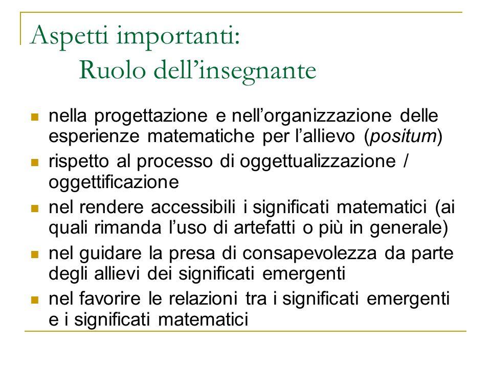 nella progettazione e nellorganizzazione delle esperienze matematiche per lallievo (positum) rispetto al processo di oggettualizzazione / oggettificaz