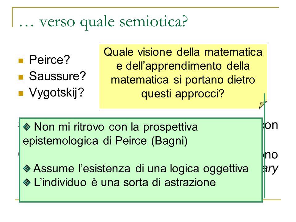 … verso quale semiotica? Peirce? Saussure? Vygotskij? Sono tutte ugualmente compatibili/coerenti con un approccio ermeneutico? Cosa vuol dire che due